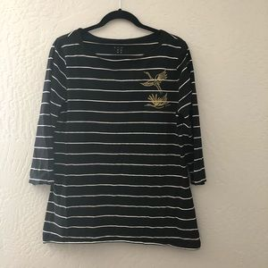 A NEW DAY STRIPED BOATNECK TOP
